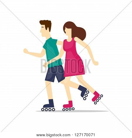 Physical activity people engaged in outdoor sports, roller skating, summer. Flat design vector illustration.