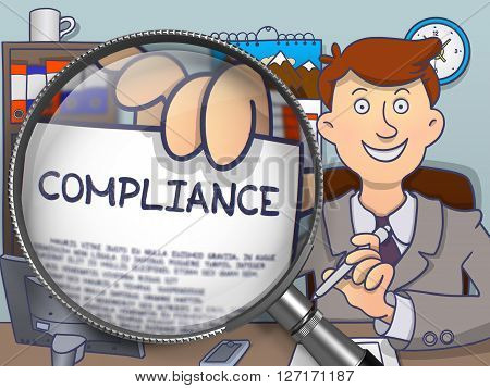 Officeman Showing Paper with Concept Compliance. Closeup View through Magnifying Glass. Colored Doodle Style Illustration.