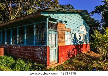 Colorful rustic wooden outbuilding in Retalhuleu, Guatemala