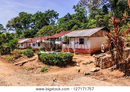 Retalhuleu, Guatemala - April 9 2015: Workers' housing on coffee & rubber plantation. Takalik Maya Lodge near pre-Columbian archaeological site Tak'alik Abaj near Mexican border.
