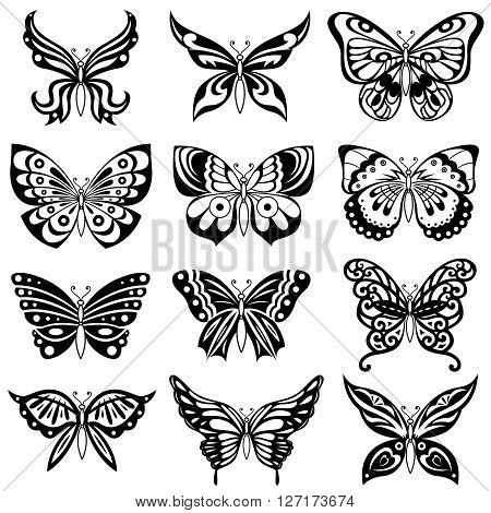 Set of twelve ornamental black butterflies isolated on the white background hand drawing vector artworks