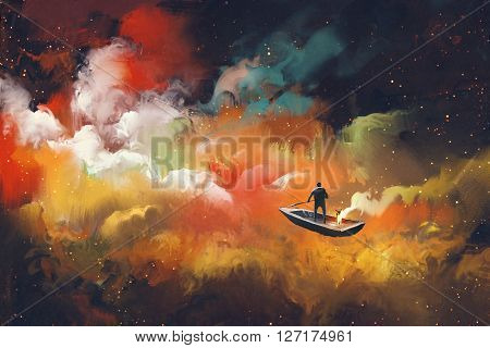 man on a boat in the outer space with colorful cloud, illustration