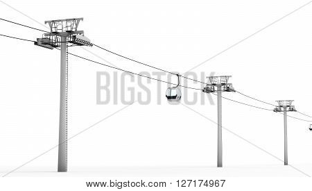 Cableway isolated on white background. 3d rendering.
