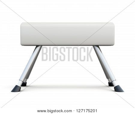 Pommel horse isolated on white background. Side view. 3d rendering.