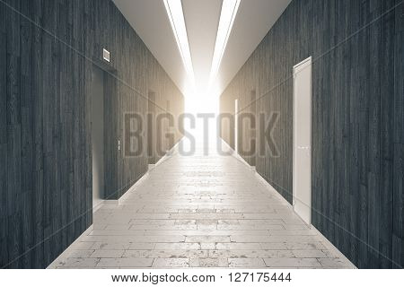 Corridor interior with dark wooden walls brick floor numerous doors and light at the end. 3D Rendering