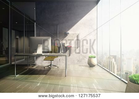 Frontview of sunlit office with workplace wooden floor concrete wall shelves and vases. 3D Rendering