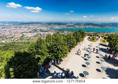 Zurich, Switzerland - August 15, 2015. View to Zurich and the bay area from Mountain Uetliber Switzerland
