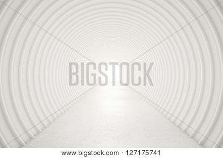Abstract white tunnel with light at the end. 3D Rendering