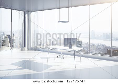 Sideview of white office interior with workplace sunlight and New York city view. 3D Rendering