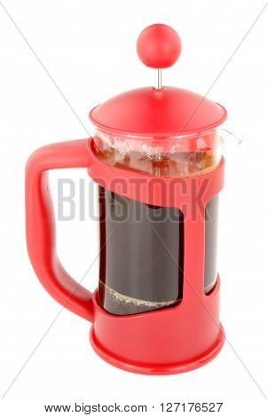Red French press coffee cafeteria isolated on a white background