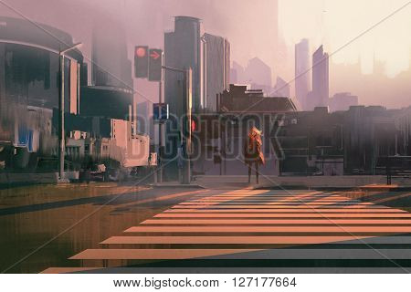 lonely woman standing on urban pedestrian crossing, illustration painting