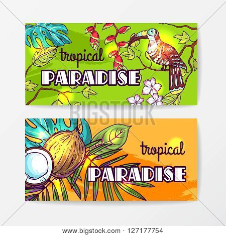 Tropical vector hand drawn baners  for your design. Tropical flora and fauna.