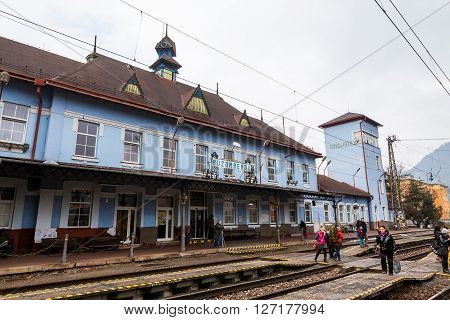 Exterior View Of The Main Railway Station In Ruzomberok, Slovakia