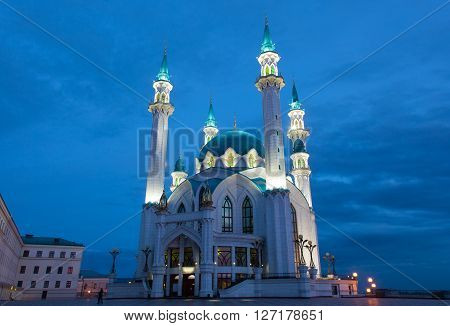Qol Sharif mosque in Kazan Russia with night illumination