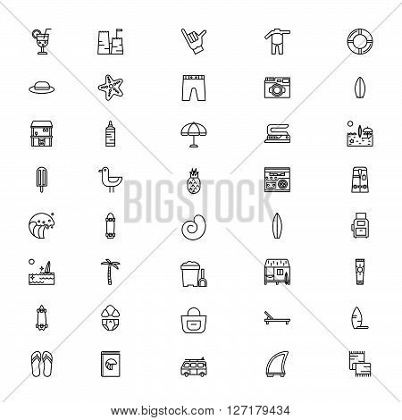 Summer and surfing items icons - surfboard wakesurfing surfskeyt longboard. Thin lines icon style. It can be used as logo pictogram icon infographic element. Vector Illustration.