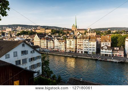 Famous Postcard View Of Various Houses And Churches In The Old Town Part Of Zurich