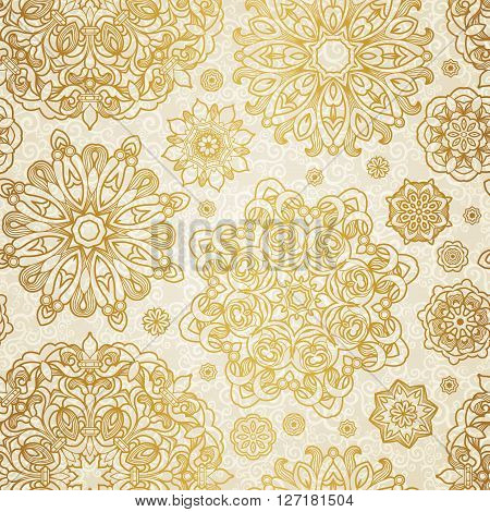 Vector Seamless Pattern With Circle Ornaments.