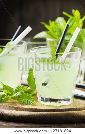 Green Sweet Cocktail With Fresh Mint And Ice