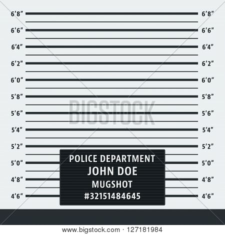 Police mugshot. Police lineup background. Vector illustration