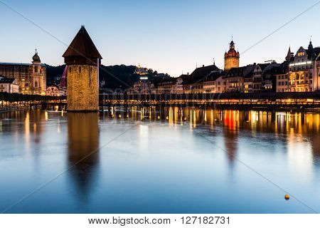 Lucerne, Switzerland - August 2: Views Of The Famous Bridge Kapellbruecke At Sunset In Lucerne On Au