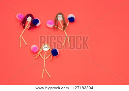 Cheerleader buttonhead stick figure girls pink and purple pompoms