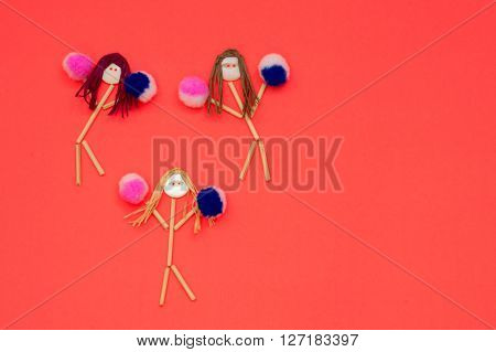 Cheerleader buttonhead stick figure girls pink and blue pompoms