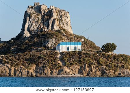 Small traditional church at sunset in Kos island, Greece