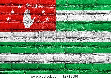 Flag Of Abkhazia, Painted On Brick Wall