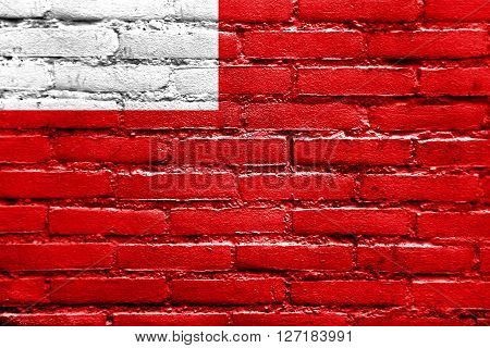 Flag Of Abu Dhabi, Painted On Brick Wall