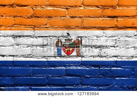 Flag Of Albany, New York, Painted On Brick Wall