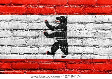 Flag Of Berlin, Painted On Brick Wall