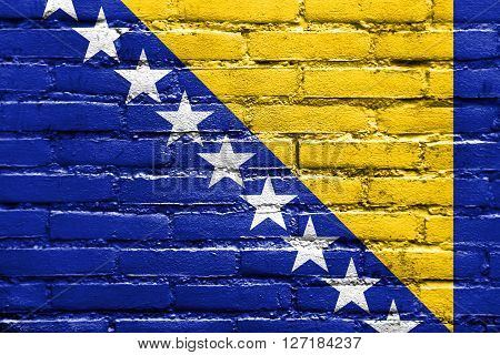 Flag Of Bosnia And Herzegovina, Painted On Brick Wall
