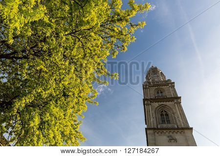 ZURICH SWITZERLAND - MAY 17: Exterior views of the Grossmunster cathedral in the old town part of Zurich on May 17 2015. Zurich is the biggest city in Switzerland.
