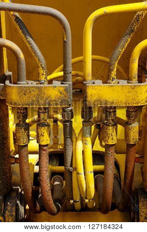 Hydraulic dredger detail part industries transportation theme.