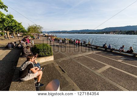 View To The Mountain Uetliberg From The Zurich Lake Promenade