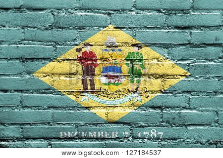 Flag Of Delaware State, Painted On Brick Wall