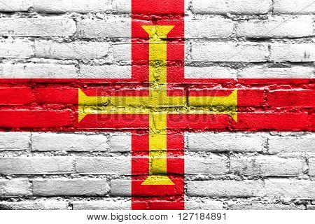 Flag Of Guernsey, Painted On Brick Wall