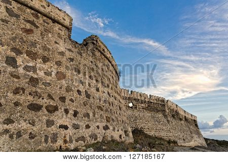 View of the Antimachia castle in Kos island, Greece