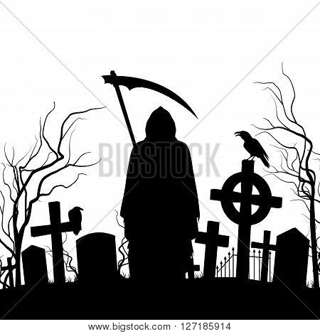 Silhouette of the cemetery on the white background.