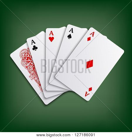 Aces poker play cards game template vector eps 10