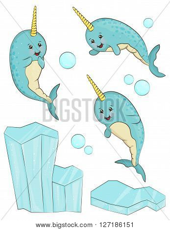 A set of adorable smiling cartoon narwhal animal characters. Unicorn fish in different positions shiny iceberg and bubbles.