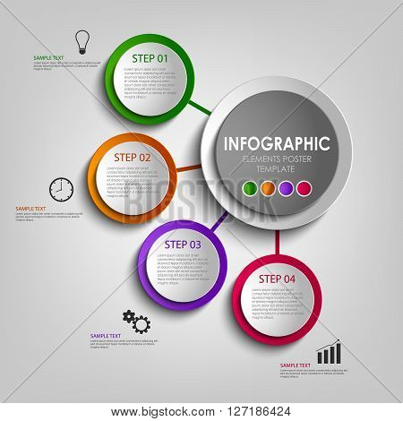 Info graphic with colored design circles poster template vector eps 10