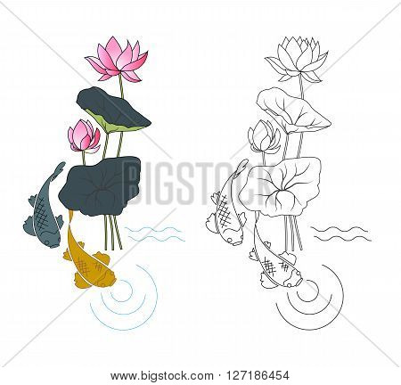 Blooming lotus and fish coloring vector illustration