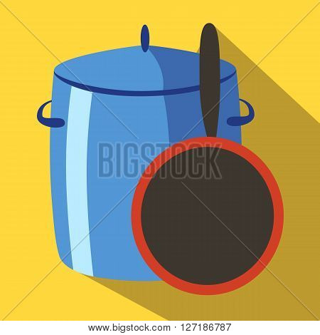 Saucepan and pan colored icon on a yellow background.