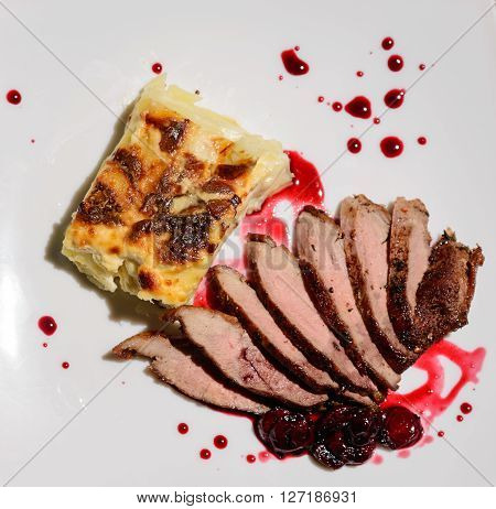 duck breast with sauce on white dish