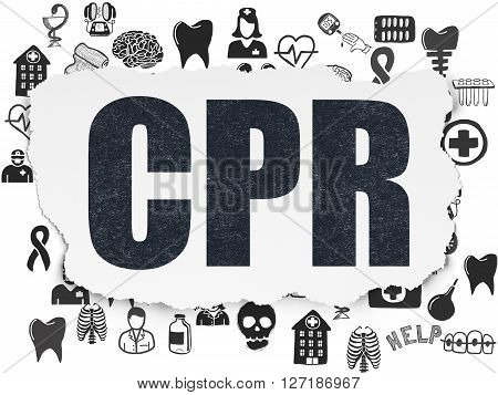 Healthcare concept: Painted black text CPR on Torn Paper background with  Hand Drawn Medicine Icons
