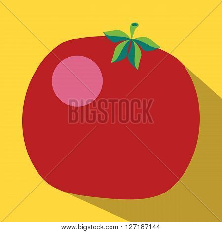 Tomato colored icon on a yellow background.