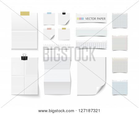 Collection of various blank white paper sheets and cards isolated on white background. Realistic vector illustration of  blank paper and notepaper pieces for web banners and print. Branding template, moc up
