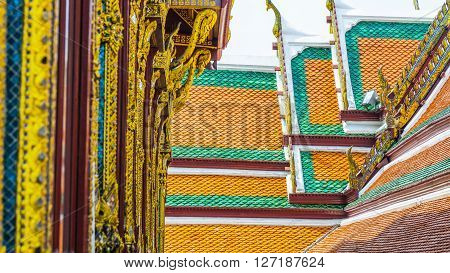 Building elements of Thai temple (Roof wallcolumes)