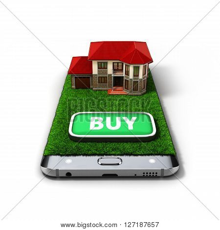 Concept Of Online Sales House Property Is On The Phone 3D Illustrations